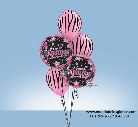 Bouquet Happy Fabulous Birthday con Estrellas y Globos de Pieles de Animales