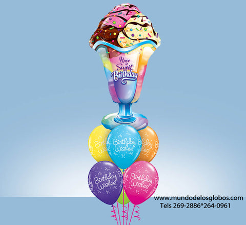 Bouquet Happy Birthday con Sunday Gigante Have a Sweet Birthday y Globos Birthday Wishes de Colores