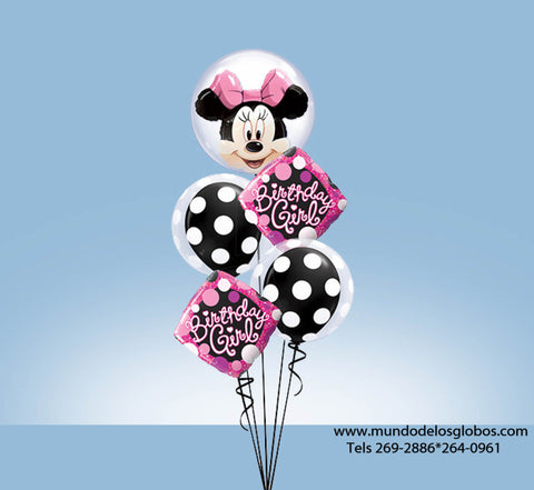 Bouquet Happy Birthday con Burbuja de Minnie, Diamantes Birthday Girl y Globos de Bolas Blancas