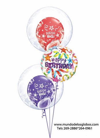 Bouquet Happy Birthday con Globos con Serpentinas y Burbujas Wish Big!