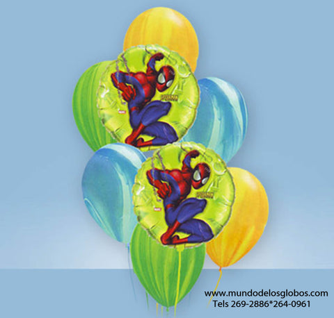 Bouquet de Spiderman con Globos de Colores Tie Dye
