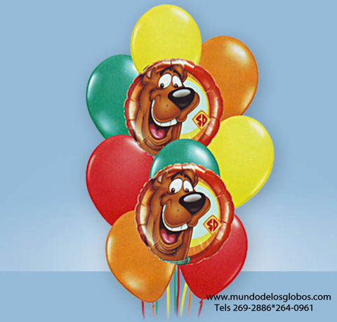 Bouquet de Scooby Doo con Globos de Colores