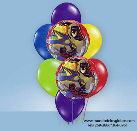Bouquet de Batman con Globos de Colores