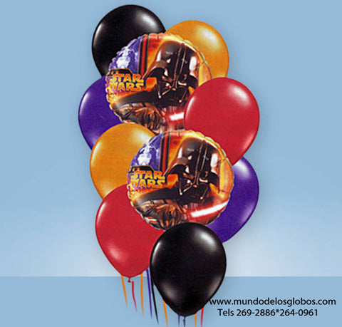 Bouquet de Star Wars, Dark Vader, con Globos de Colores