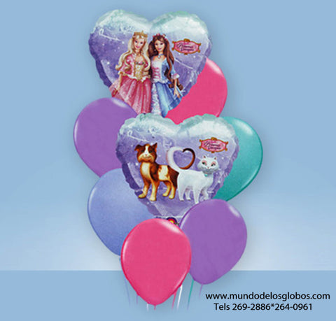 Bouquet de Princess Barbie de Corazones con Globos de Colores