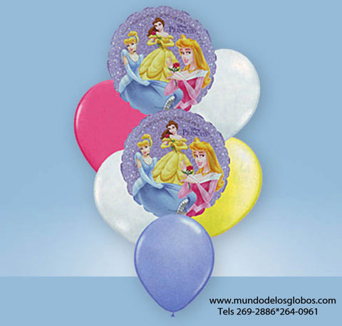 Bouquet de Disney Princesses con Globos de Colores