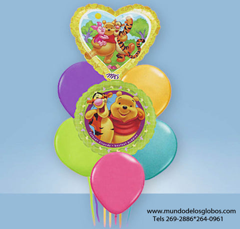 Bouquet de Winnie The Pooh y Amigos con Corazon y Globos de Colores