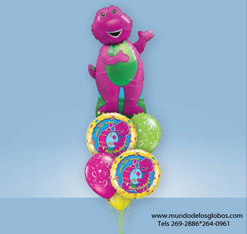 Bouquet de Barney Gigante con Globos Happy Birthday y de Colores
