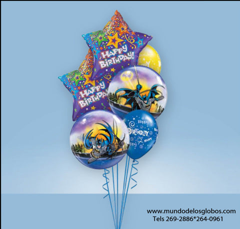 Bouquet de Burbujas de Batman con Estrellas Happy Birthday y Globos de Colores