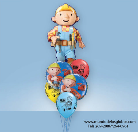 Bouquet de Bob The Builder Gigante y Globos de Colores
