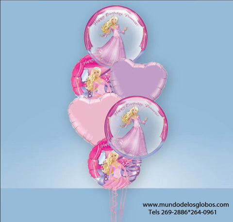 Bouquet de Barbie con Globos Happy Birthday Princess! y Corazones de Colores