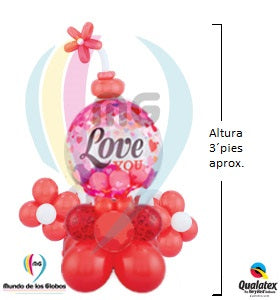 Adorno para Escritorio: Burbuja Gigante I love You con base flores latex