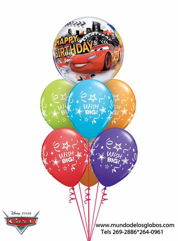 Bouquet de Cars con Burbuja Happy Birthday y Globos de Colores Wish Big