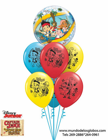 Bouquet Captain Jake & The Neverland Pirates de Burbuja y Globos de Colores