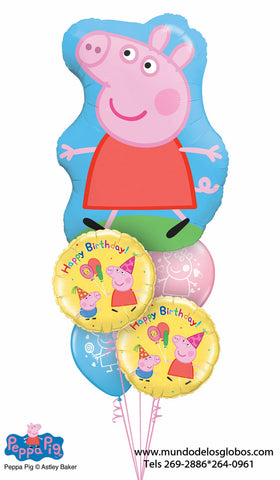 Bouquet de Globo Gigante Peppa Pig con Globos Happy Birthday y Globos de Colores