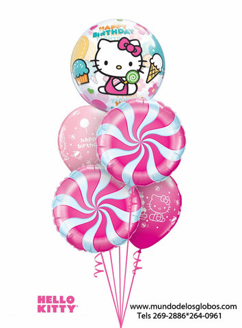Bouquet de Hello Kitty con Burbuja Happy Birthday, Globos de Mentas y Rosa