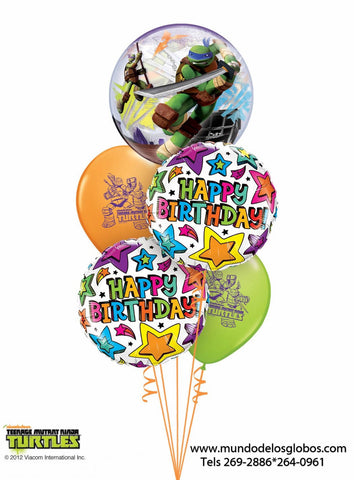 Bouquet Teenage Mutant Ninja Turtles con Burbuja y Globos de Colores, Happy Birthday