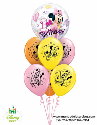 Bouquet Minnie Baby con Burbuja 1st Birthday y Globos de Colores de 1er Añito