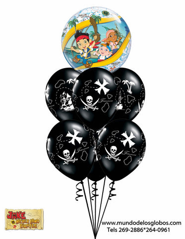 Bouquet Captain Jake & The Neverland Pirates con Burbuja y Globos Negros