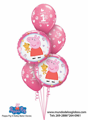 Bouquet de Peppa Pig con Globos Happy 1st Birthday Rosados, 1er Añito