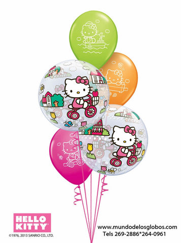Bouquet Hello Kitty de Burbujas y Globos de Colores