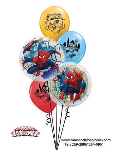 Bouquet Spiderman con Burbujas y Globos de Colores