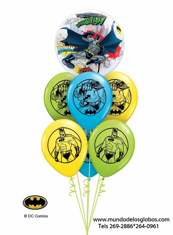 Bouquet Batman con Burbujas y Globos de Colores