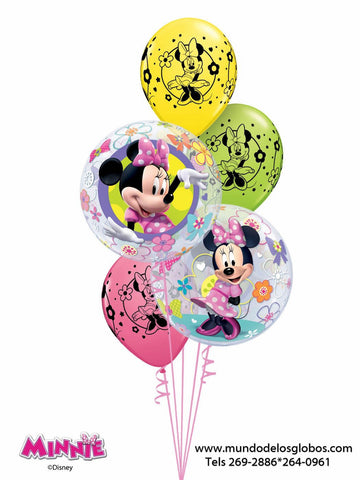 Bouquet de Minnie con Burbujas y Globos de Colores