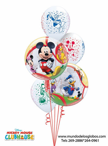 Bouquet de Mickey, Minnie, Donald, Daisy, Goofy y Pluto de Burbujas y Globos, Disney's Club House