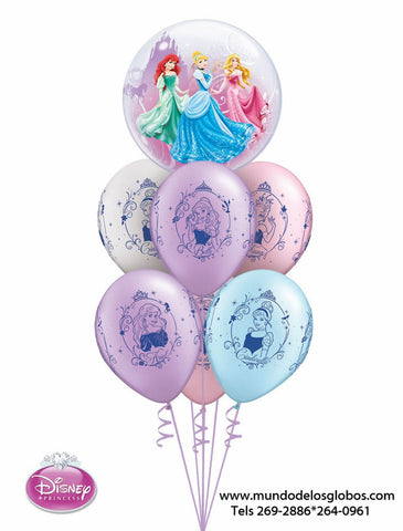 Bouquet Princesas de Burbuja y Globos de Colores Princesses