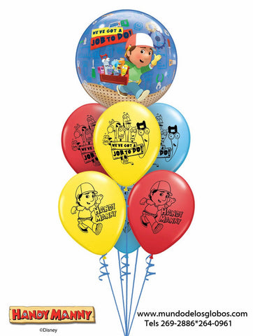 Bouquet Handy Manny de Burbuja y Globos de Colores, We've Got a Job to Do