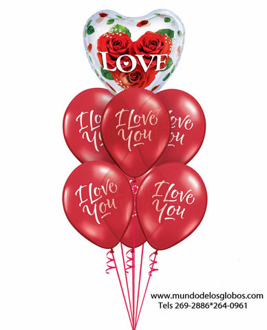 Bouquet de Globos I Love You con Burbuja de Corazon con Rosas Love
