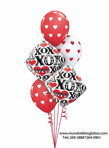 Bouquet de Diamantes XOXO y Globos con Corazoncitos