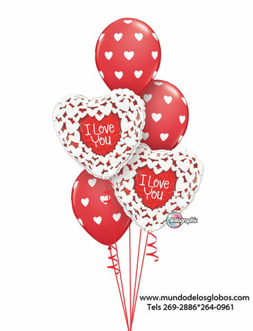 Bouquet de Corazones I Love You y Globos con Corazoncitos
