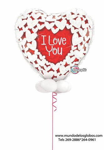 Bouquet de Corazon Gigante I Love You con Globitos Blancos