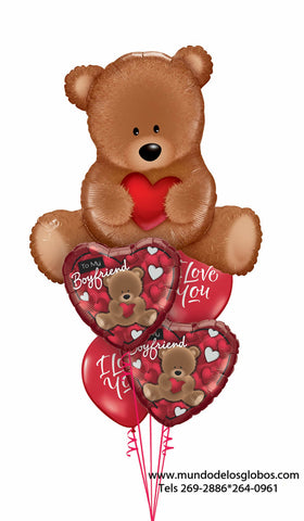 Bouquet de Oso Gigante Chocolate con Corazones con Ositos To My Boyfriend y Globos Rojos I Love You