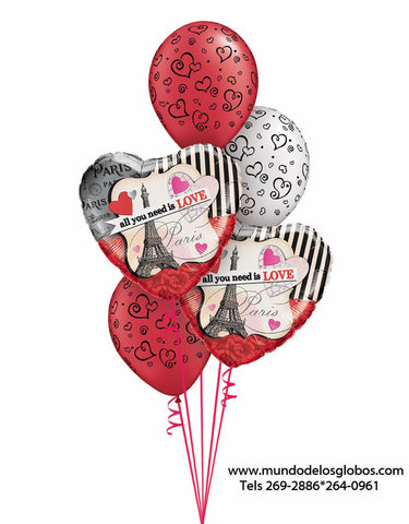 Bouquet de Corazones All You Need is Love, Paris y la Torre Eiffel, con Globos con Corazoncitos