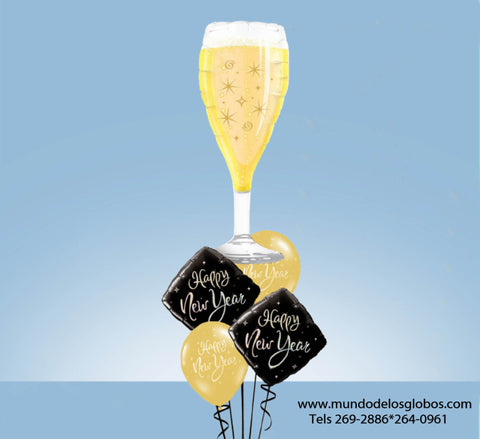 Bouquet de Diamantes y Globos Happy New Year con Copa de Champan Gigante