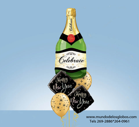 Bouquet de Diamantes Happy New Year con Botella de Champan Gigante y Globos con Estrellas