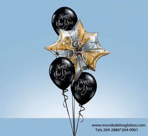 Bouquet de Feliz Año Nuevo con Estrella Gigante Let's Party y Globos Negros Happy New Year