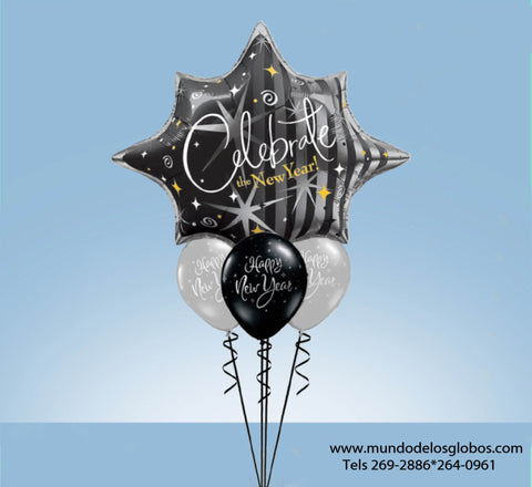Bouquet de Estrella Gigante Celebrate the New Year y Globos Happy New Year de Colores