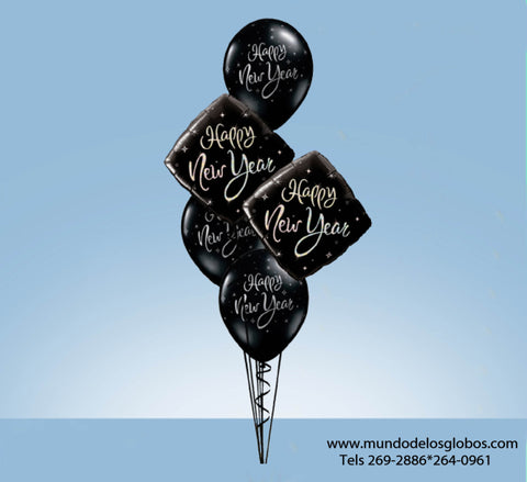Bouquet de Feliz Año Nuevo con Diamantes y Globos Negros Happy New Year