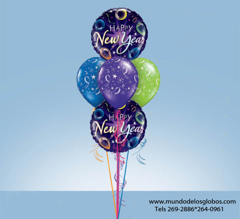 Bouquet de Feliz Año Nuevo con Globos Happy New Year y Globos de Colores con Serpentinas