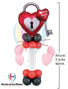 "Pedestal: Corazón de 36"" pulgadas ""You are the key to my Heart"" Metálico con globos redondos c/ helio y base de gran globo largo, redondos"
