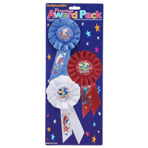 "1st, 2nd, 3rd, Place Award Pack Rosettes, Size 3¼"" x 6½"""