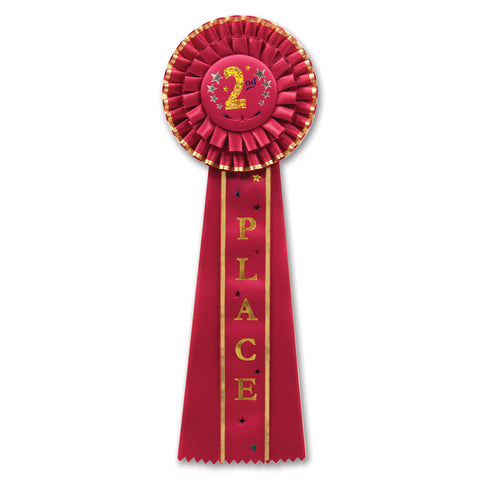 "2nd Place Deluxe Rosette, Size 4½"" x 13½"""