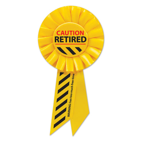 "Caution Retired Rosette, Size 3¼"" x 6½"""