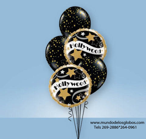 Bouquet Hollywood con Globos con Estrellas