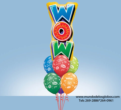 Bouquet de WOW Gigante con Globos Good Job, Cool, You Rock! de Colores