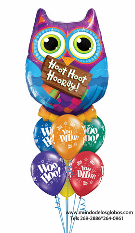 Bouquet de Felicidades con Buho Gigante Hoot Hoot Hooray y Globos de Colores Woo Hoo You Did It!
